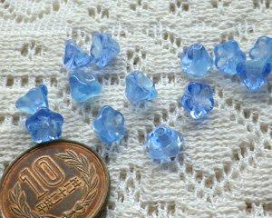 画像1: チェコ現代物/蓄光ビーズ/ベルフラワー/ブルー(5個)