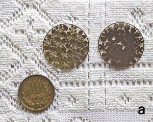 画像2: 銅製透かしパーツ/フラワーラウンドa(2枚)