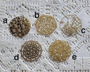 画像3: 銅製透かしパーツ/フラワーラウンドa(2枚)