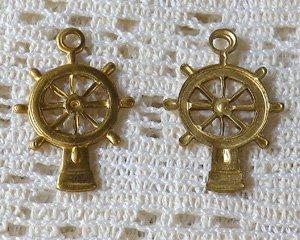 画像1: ブラスチャーム/舵輪(3個)