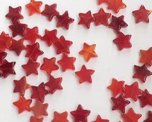 画像1: 星型ビーズ/カーネリアン(5個)