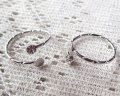 リングパーツ/3mmストーン+4mm平皿/本ロジウムメッキ(1個)