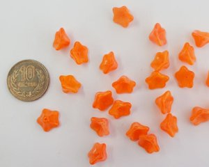 画像2: チェコ現行品/トランペットフラワー/オレンジオパール(6個)