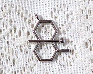 画像1: 化学構造式メタルパーツ/シルバー/ゲオスミン/29×19mm(1個)