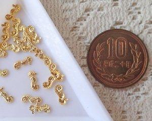 画像1: ネイル用メタルパーツ/タツノオトシゴ/ゴールド(30個)