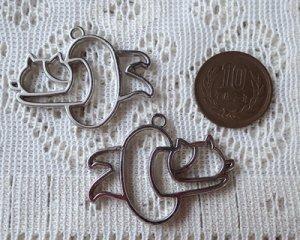 画像2: レジン用カラワク/浮き輪と猫(ミケ)/ニッケル(1個)