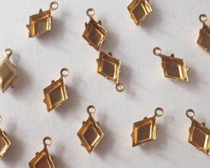 画像1: 10×7mmダイアモンド用ブラスセッティング/クローズドバック/1リング(2個)