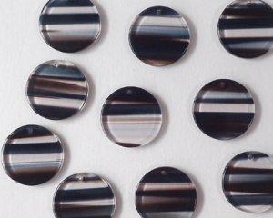 画像1: アクリルラウンドドロップ/ブラウンボーダー/ブルー系(4個)