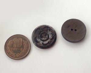 画像4: ヴィンテージ/プラスチック/イギリス/ブラウンマーブルフラワーボタン(1個)
