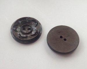 画像3: ヴィンテージ/プラスチック/イギリス/ブラウンマーブルフラワーボタン(1個)